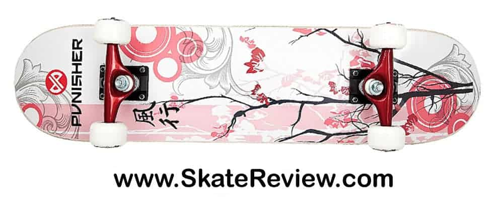 punisher cherry blossom skateboard, complete punisher skateboard